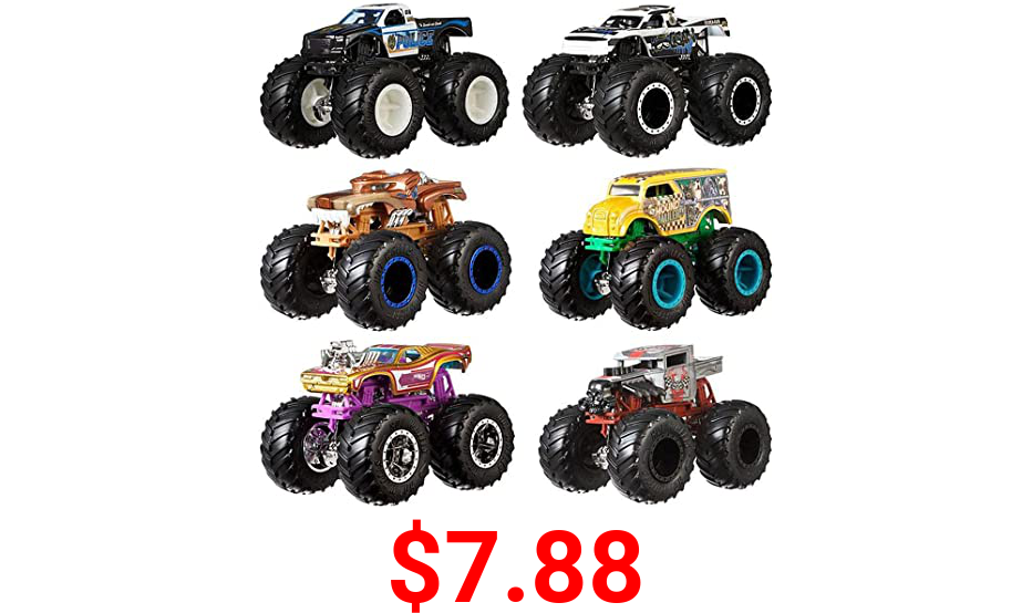 Hot Wheels Monster Trucks 1:64 Scale Die-Cast Demolition Doubles 2-Pack Assortment for Kids age 3 - 8 Years Old, Collectible Toy Truck with BIG Wheels for Crashing and Smashing Styles May Vary