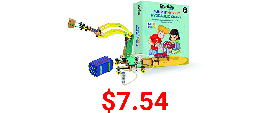 Smartivity Pump It Move It Hydraulic Crane - S.T.E.M., S.T.E.A.M. learning, Ages 8 Years and Up