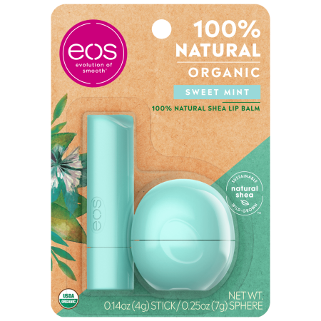 eos 100% Natural & Organic Lip Balm Stick & Sphere - Sweet Mint   0.39 oz   2 count