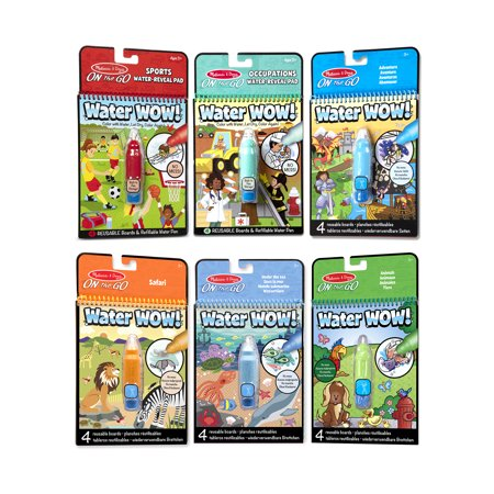 Melissa & Doug On the Go Water Wow! Reusable Color with Water Activity Pad 6-Pack, Sports, Occupations, Adventure, Safari, Under the Sea, Animals, Chunky-Size Water Pens, 10