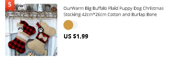 OurWarm Big Buffalo Plaid Puppy Dog Christmas Stocking 42cm*26cm Cotton and Burlap Bone Christmas Gift Bags for Dog