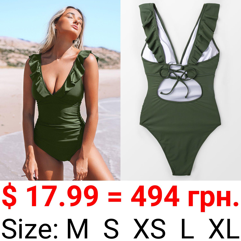 Moss Green Ruffle One Piece Swimsuit