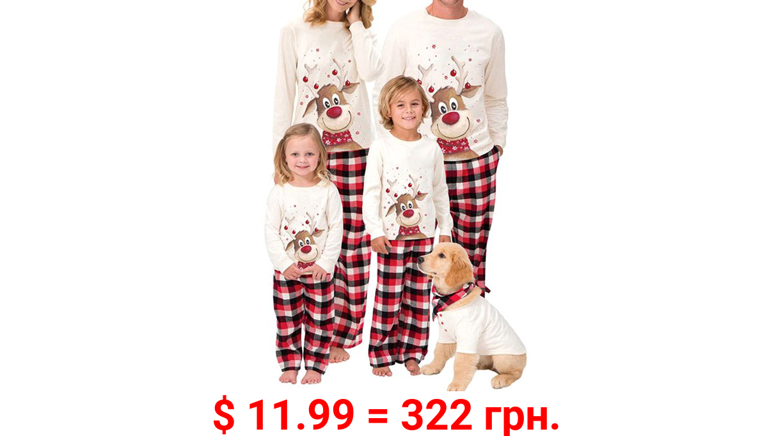Christmas Family Matching Pajamas Set Adult Kids Baby Deer Printed Tops+Plaid Pants Sleepwear Nightwear Set