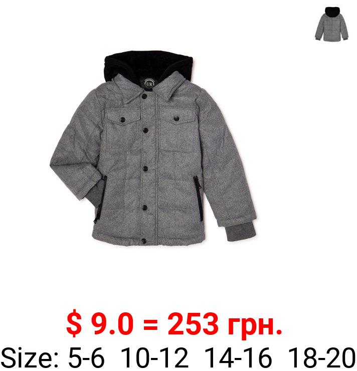 Urban Republic Boys Light Wool Jacket with Fleece Hood, Sizes 4-20