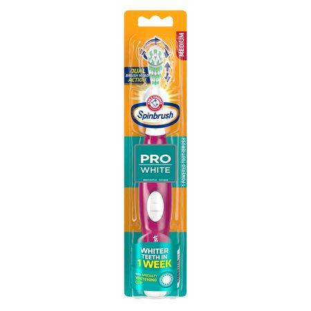 ARM & HAMMER Spinbrush PRO White Battery-Operated Toothbrush – Spinbrush Battery Powered Toothbrush Whitens Teeth in 1 Week- Medium Bristles- Batteries Included