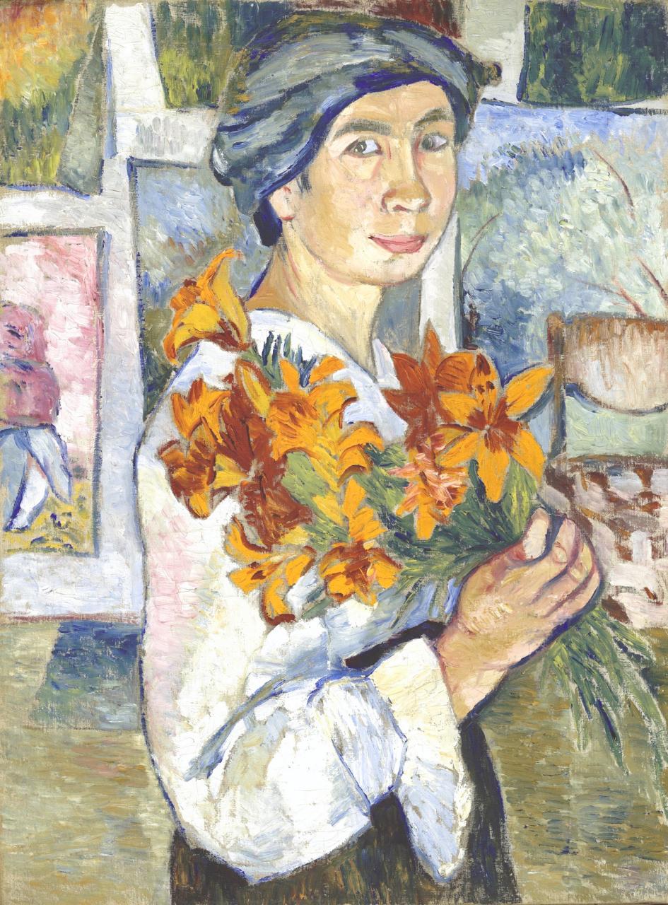 Гончарова Наталья Сергеевна (1881-1962)Автопортрет с желтыми лилиями77.5 х 58.2 холст, маслоТретьяковская галерея