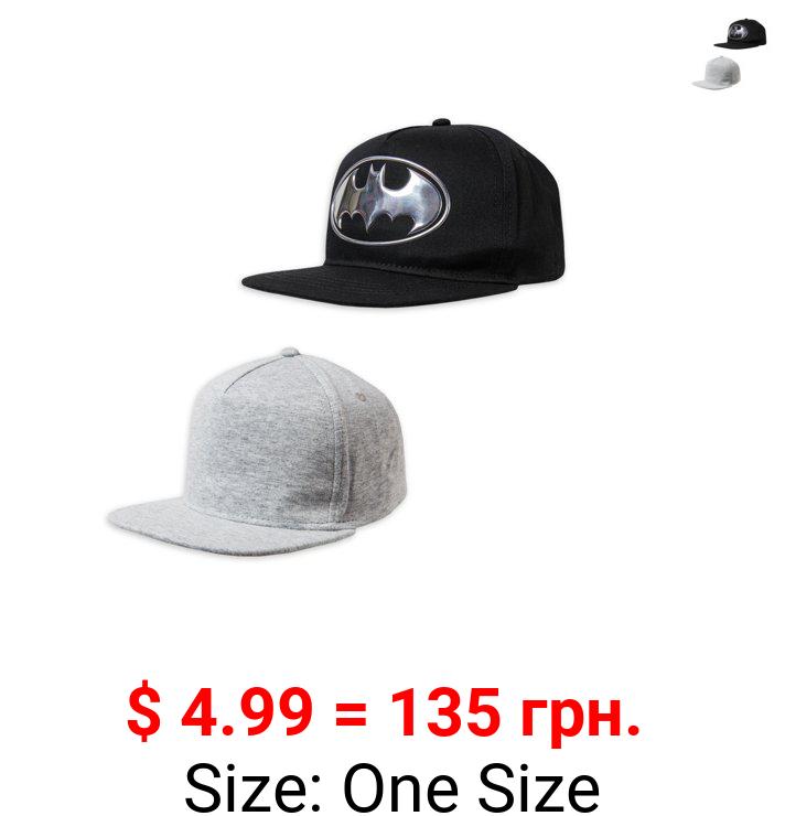 Batman Toddler Baseball Cap and Solid Baseball Hat, 2-Pack