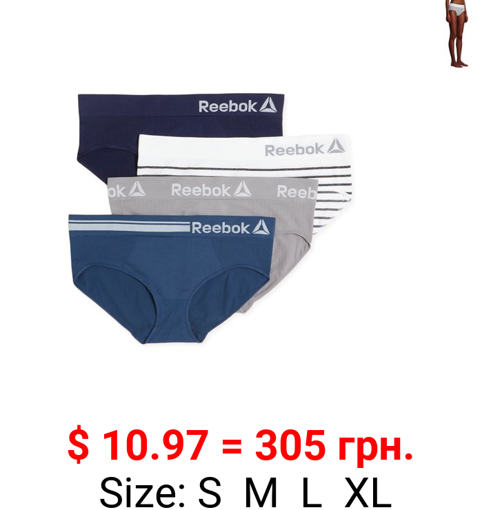 Reebok Women's Seamless Hipster Panties, 4-Pack