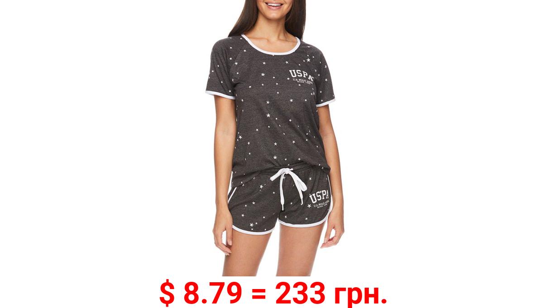 U.S. Polo Assn. Women's 2pc Short Sleeve Scoop-Neck Top and Shorts Lounge Pajama Sleep Set