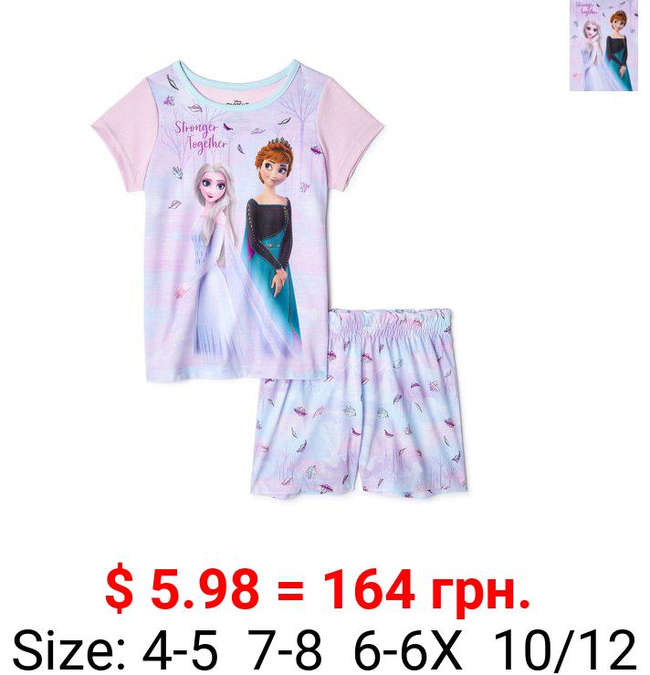 Disney Frozen 2 Anna and Elsa Girls Short Sleeve Top & Shorts Pajamas, 2-Pc Set, Sizes 4-12