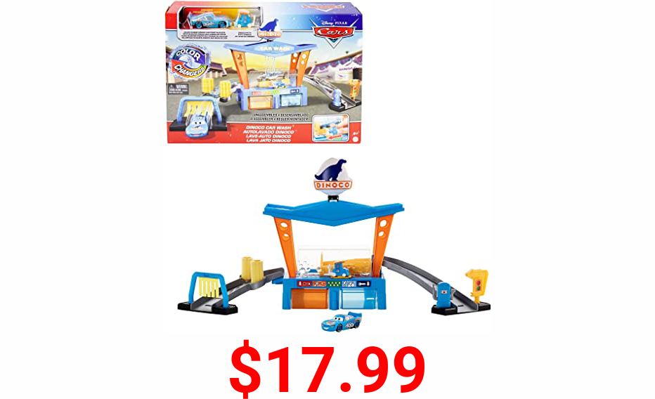 Disney Pixar Cars Color Change Dinoco Car Wash Playset with Pitty and Exclusive Lightning McQueen Vehicle, Interactive Water Play Toy for Kids Age 4 Years and Older