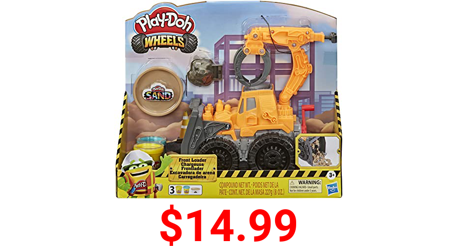 Play-Doh Wheels Front Loader Toy Truck for Kids Ages 3 and Up with Non-Toxic Sand Compound and Classic Compound in 2 Colors