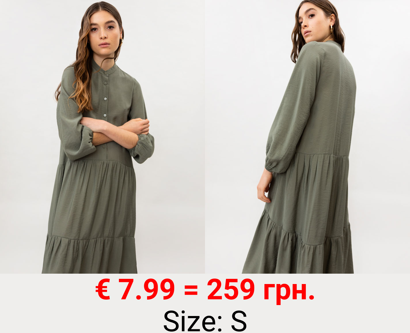 Midi dress with stand-up collar