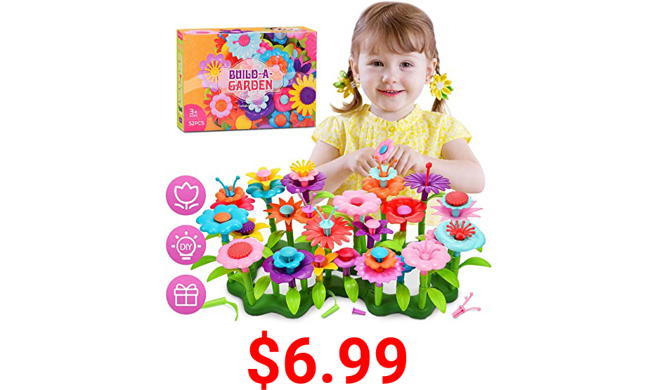 LET'S GO! Fun Toys for Girls Boys Kids Age 3-8, Waterproof Flower Garden Building Creative Toys for Kids Age 3-7, Birthday for 3-7 Year Old Kids Girls Boys Toddlers