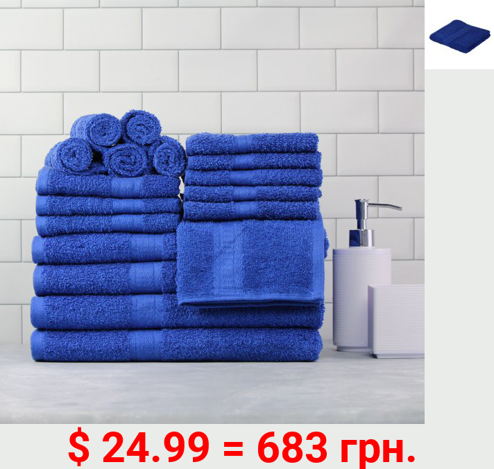 Mainstays Basic Bath Collection, 18-Piece Towel Set, Royal Spice (4 Bath, 4 Hand, 10 Wash)
