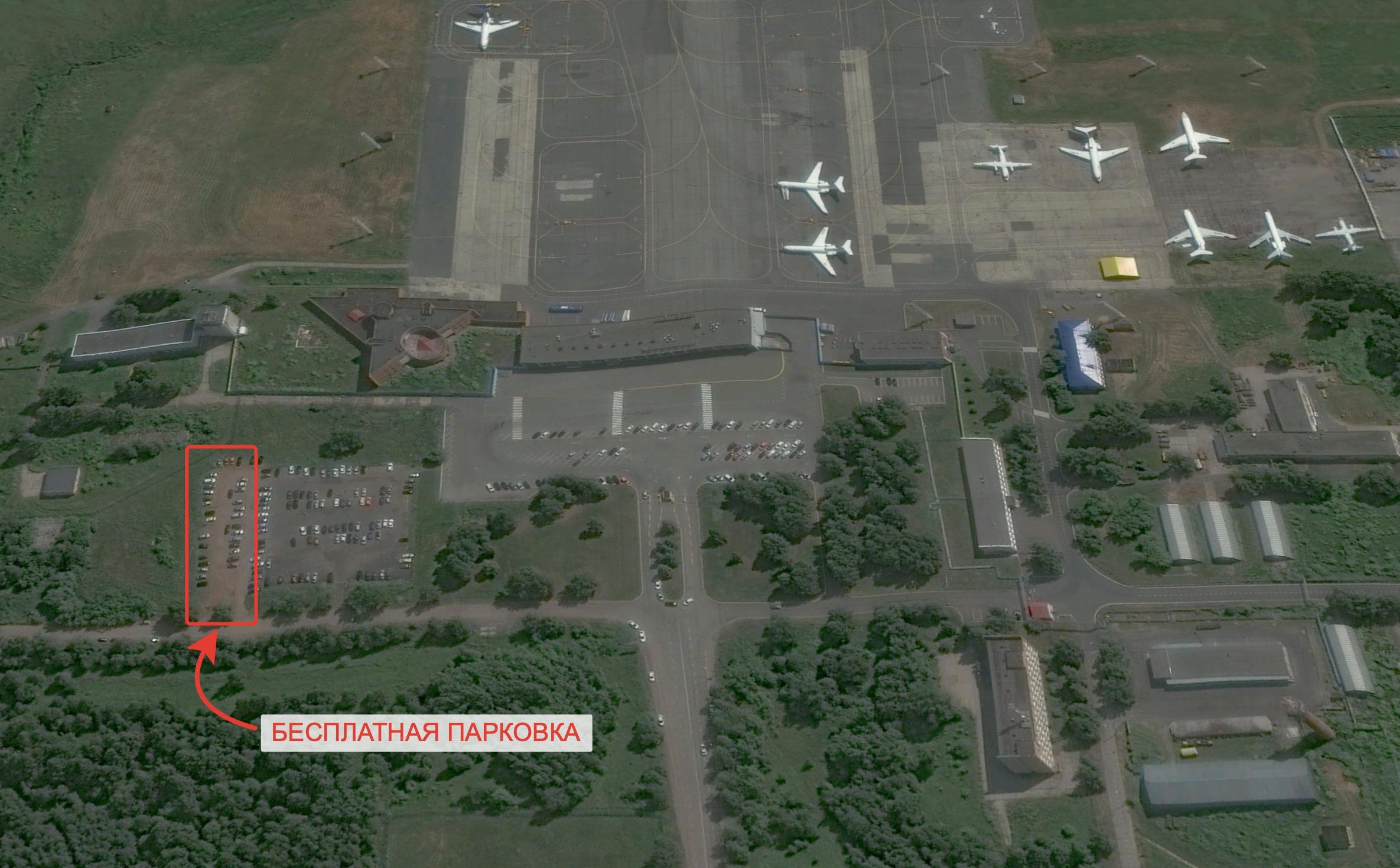 Схема проезда к беспланой парковке в ижевском аэропорту