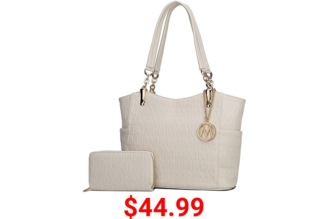MKF Shoulder Bag for Women & Wristlet Handle Purse Set: PU Leather Tote Handbag – Top-Handle Stylish Satchel Pocketbook