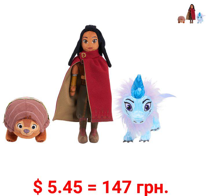 Disney Raya and the Last Dragon Small Plush Bundle Pack, Raya, Tuk Tuk, and Sisu, Preschool Ages 3 up by Just Play