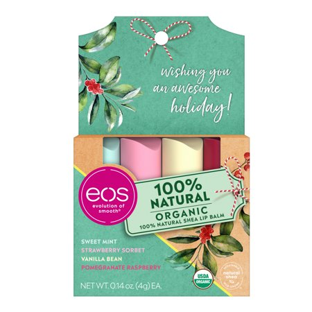 ($8.99 Value) eos Holiday Lip Balm Stick - Organic Variety Pack | 4 count