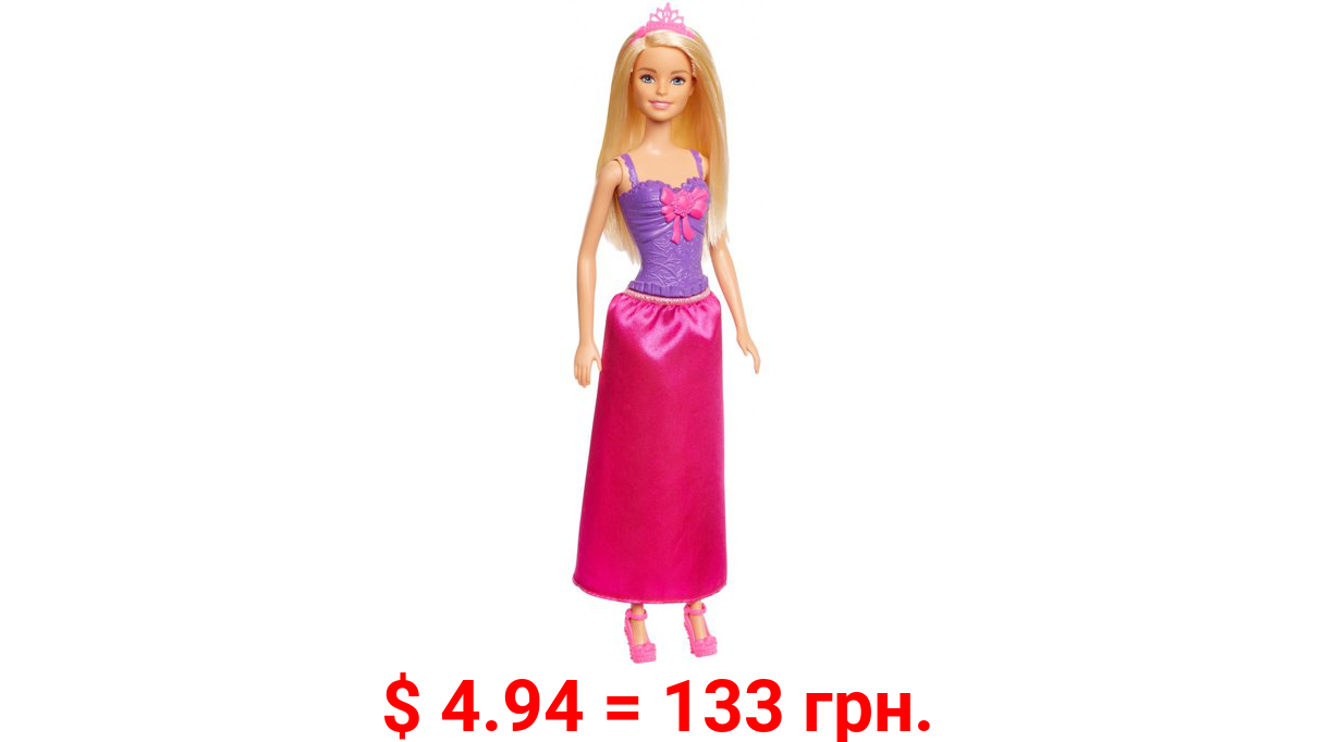 Barbie Dreamtopia Princess Doll, Blonde, Wearing Shimmery Pink Skirt and Matching Tiara, Gift for 3 to 7 Year Olds