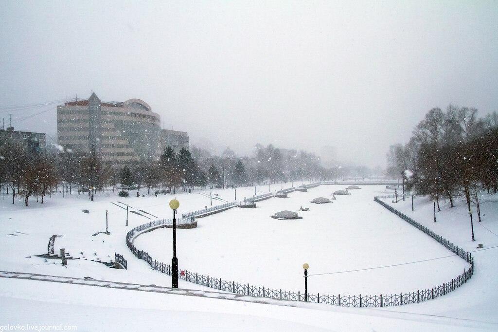 Снегопад пришел в Хабаровск
