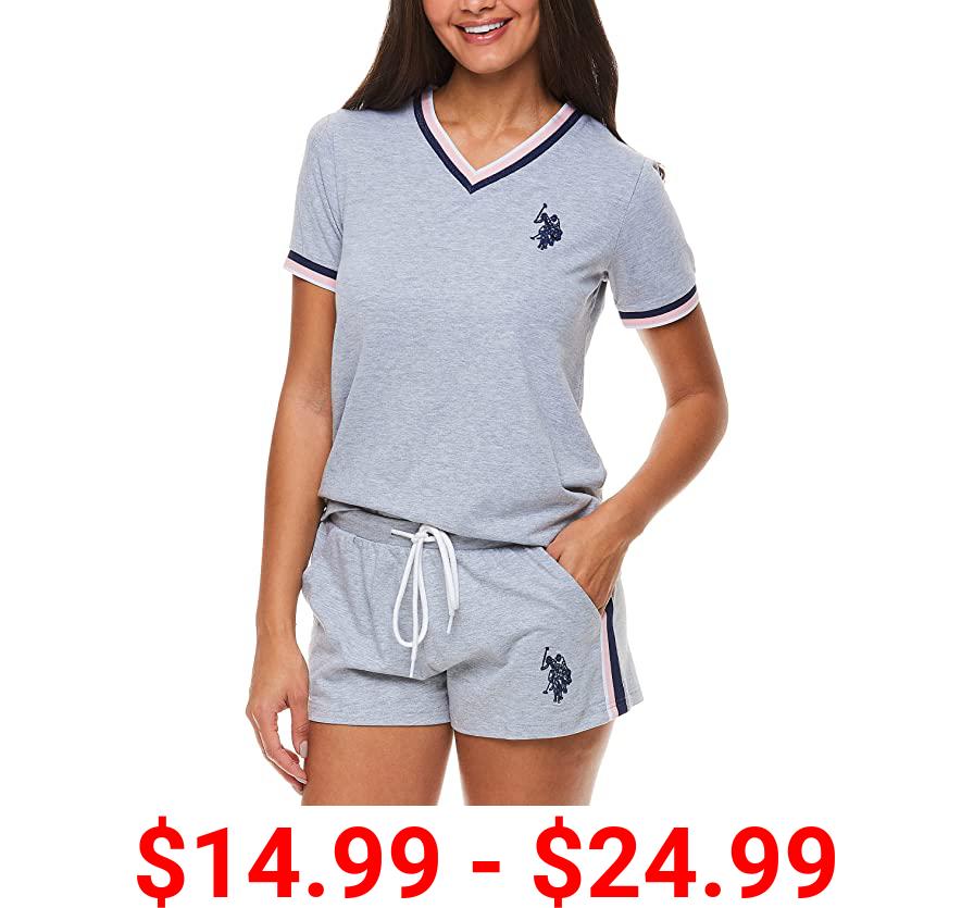 U.S. Polo Assn. Womens Rolled Short Sleeve Shirt and Lounge Pajama Shorts Sleepwear Set