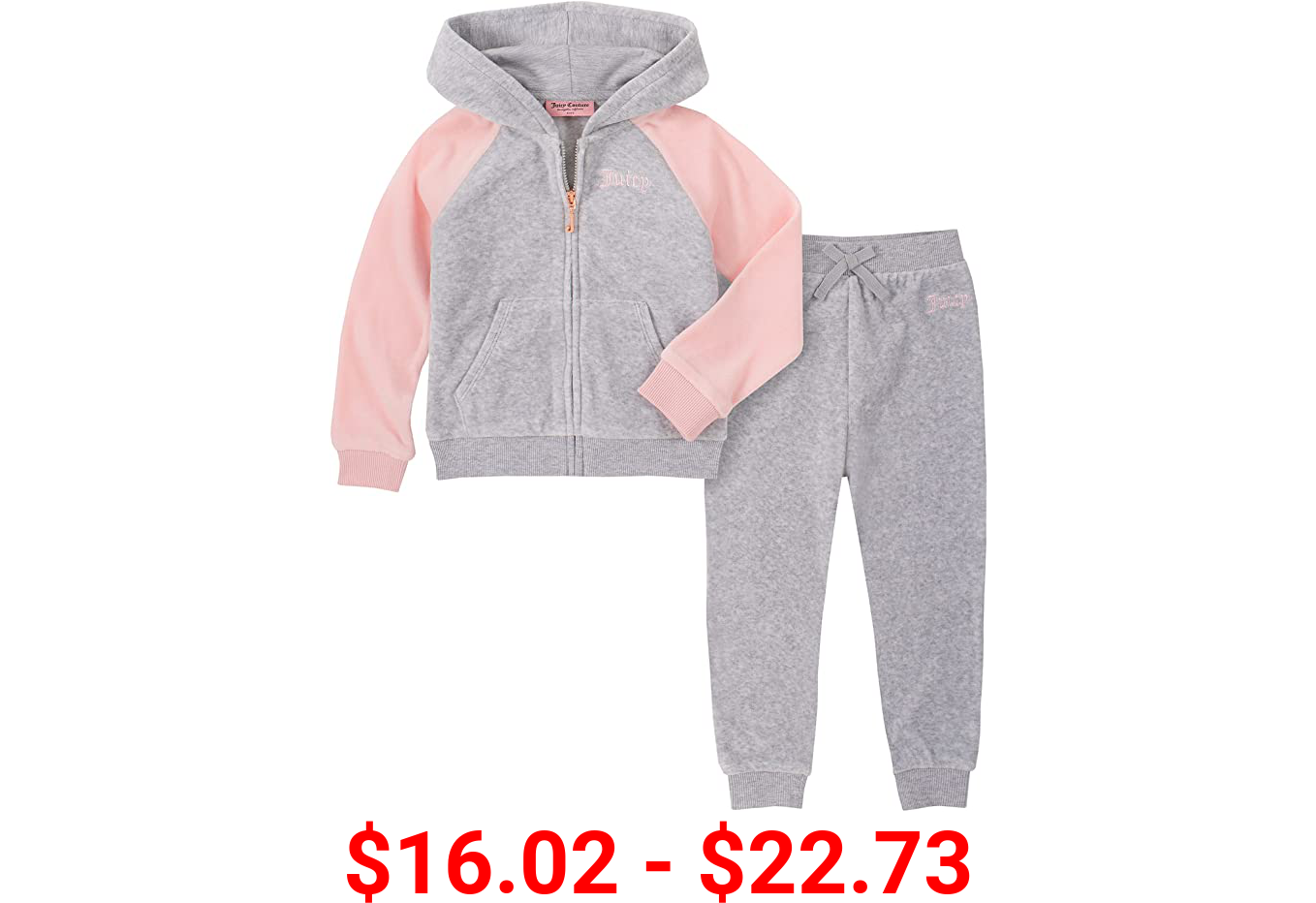 Juicy Couture girls 2 Pieces Hooded Jog Set