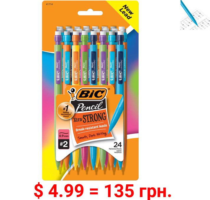 BIC Xtra Strong No. 2 Mechanical Pencil, Thick Point (0.9mm) - Pack of 24 Pencils, Break Resistant Leads, Assorted Colors