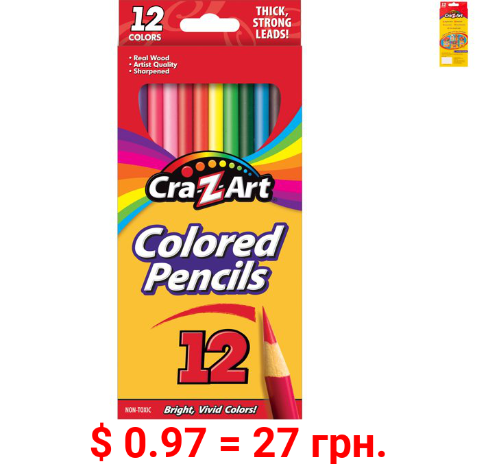 Cra-Z-Art Real Wood, Pre-sharpened Strong Colored Pencils, 12 Count