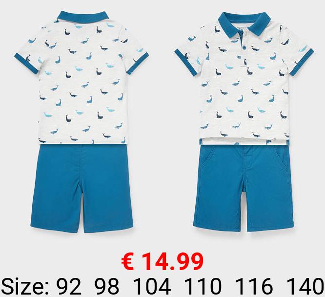 Set - Poloshirt und Shorts - Bio-Baumwolle