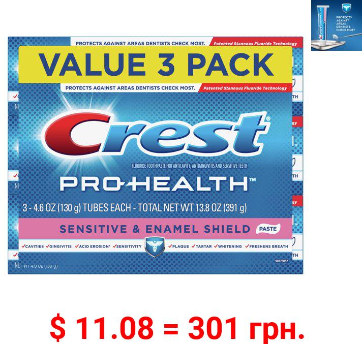 Crest Pro-Health Sensitive & Enamel Shield Toothpaste, 4.6 oz, Pack of 3