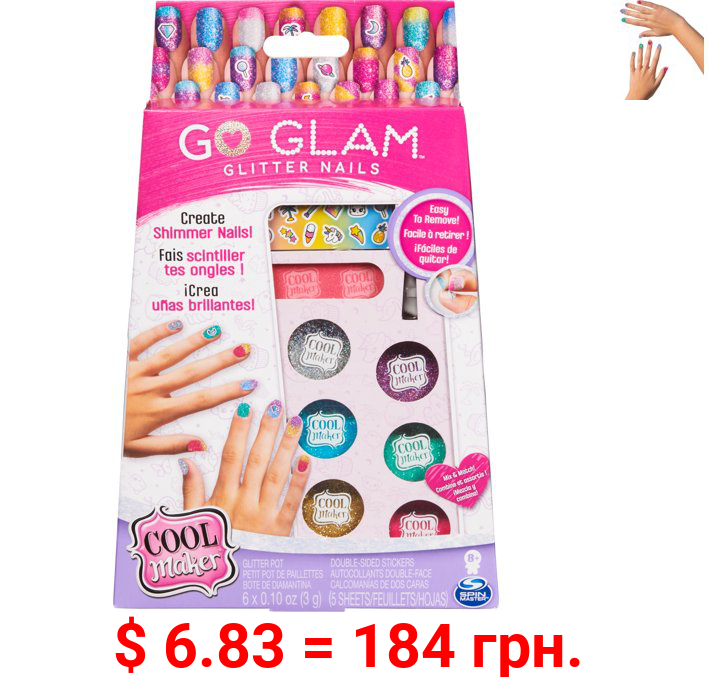 Cool Maker, GO GLAM Glitter Nails DIY Activity Kit for 5 Manicures, for Kids Aged 8 and up