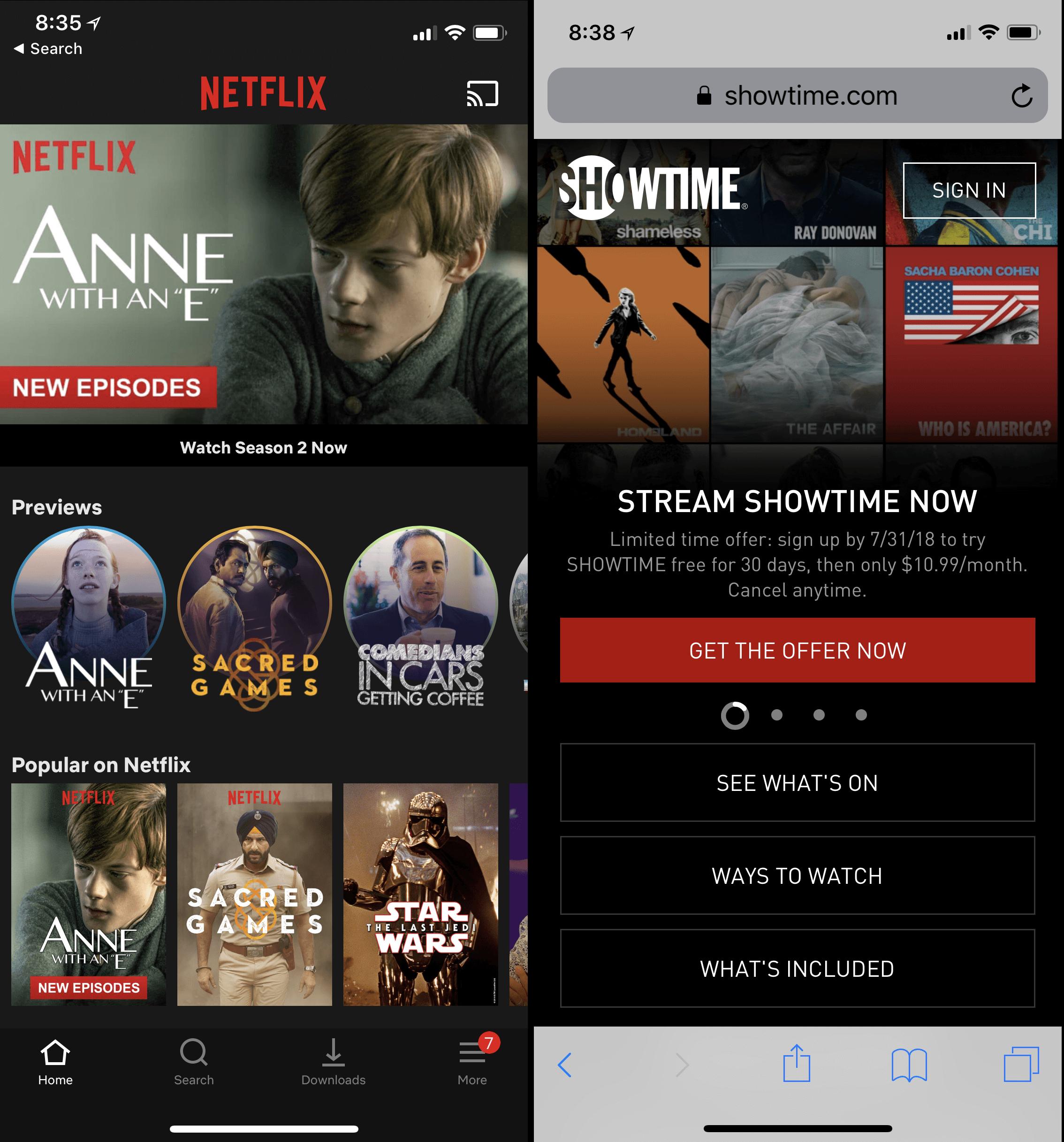 Netflix для iPhone (слева) использовал карусели для отображения длинных списков: в карусели «Популярно на Netflix» было больше 70 элементов и пользователям требовалось прокручивать карусель более 23 раз, чтобы добраться до последнего элемента. Напротив, Showtime.com (справа) правильно использовал только 4 элемента в своей карусели.