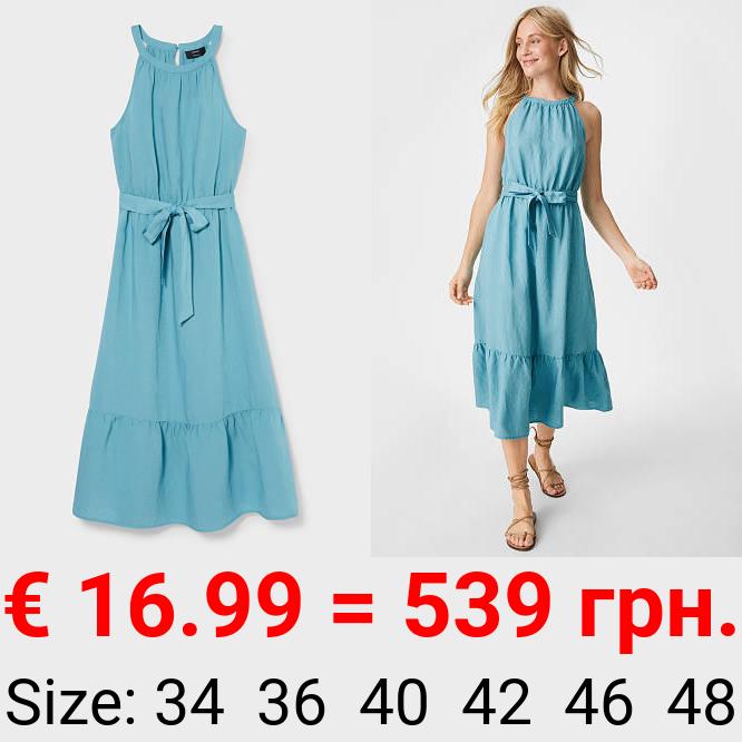 Fit & Flare Kleid - Leinen-Mix