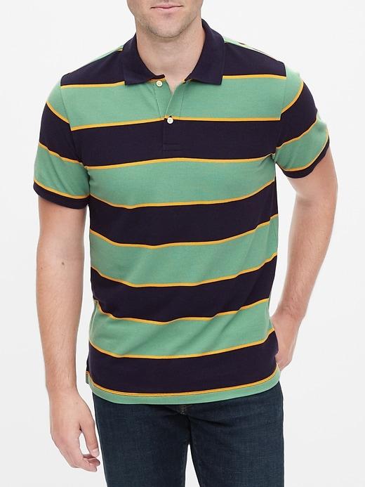 Stripe Short Sleeve Pique Polo