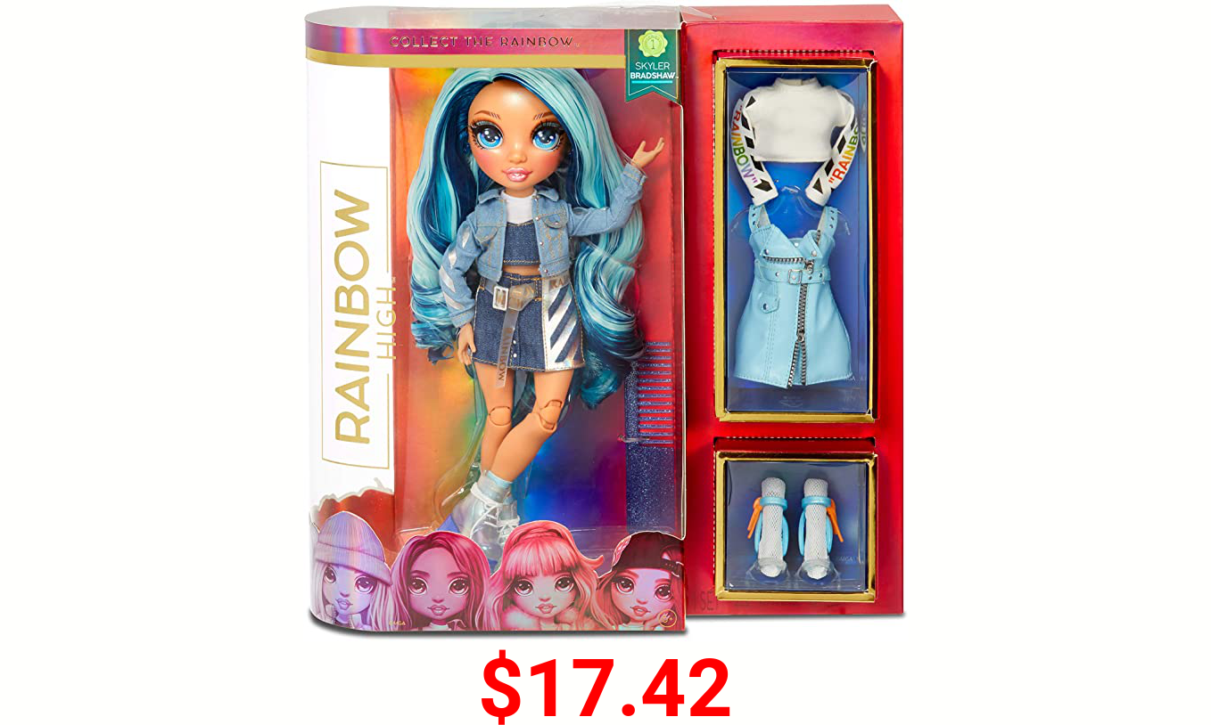 Rainbow High Rainbow Surprise Skyler Bradshaw - Blue Clothes Fashion Doll with 2 Complete Mix & Match Outfits and Accessories, Toys for Kids 4 to 15 Years Old