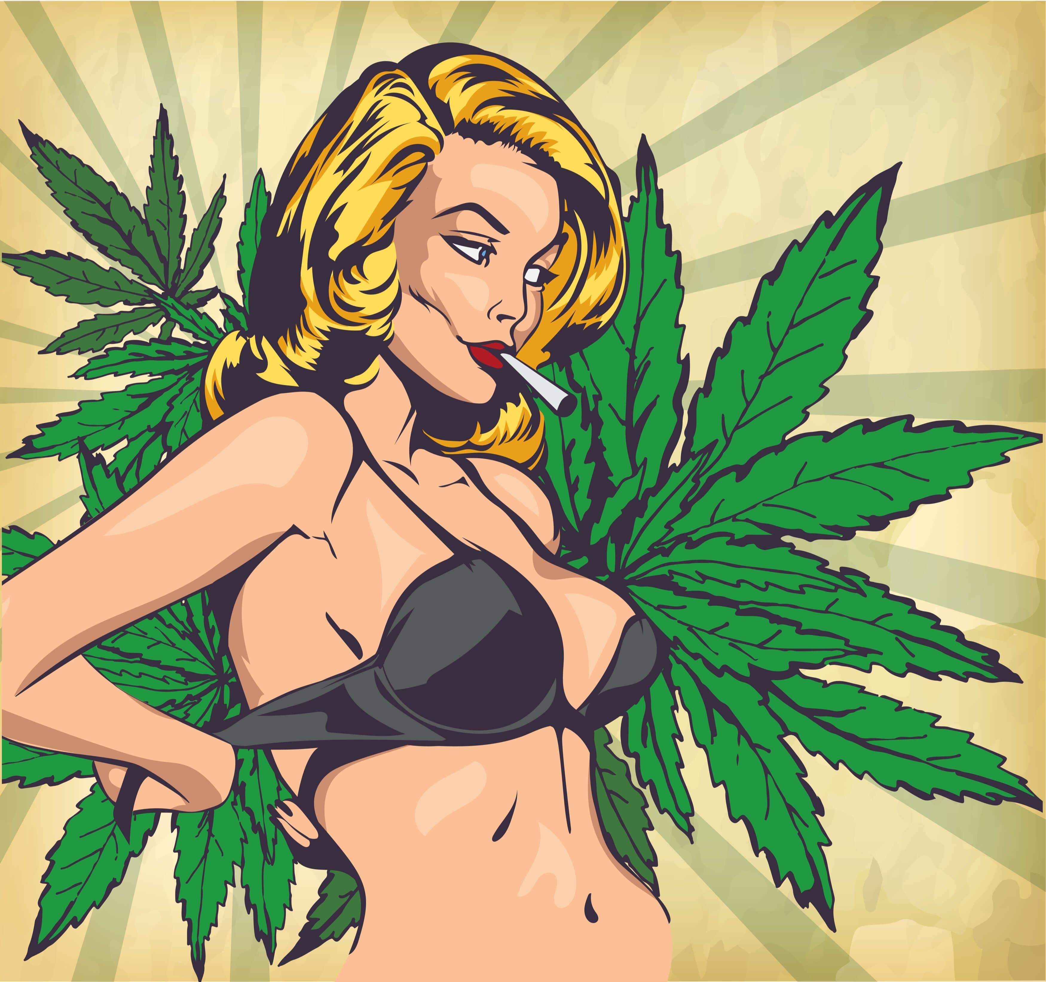 Marijuana girl cartoon images, stock photos vectors