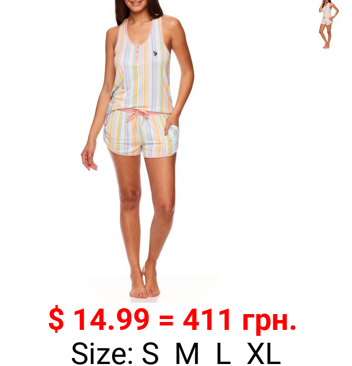 U.S. Polo Assn. Women's 2pc Knit Racerback Tank and Pajama Short Set
