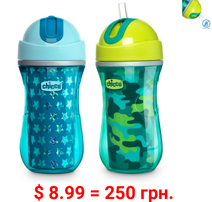 Chicco Insulated Flip-Top Straw Cup 9oz, Green/Teal, 12m+ (2pk)