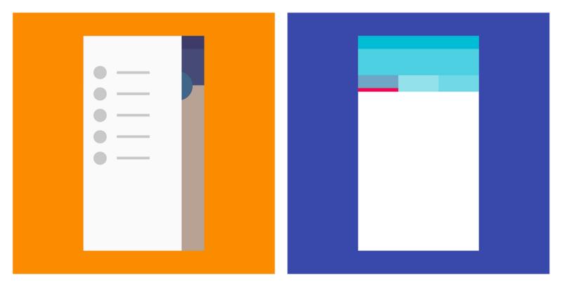 Слева  - ящик навигационного меню; справа - вкладки (Material design)