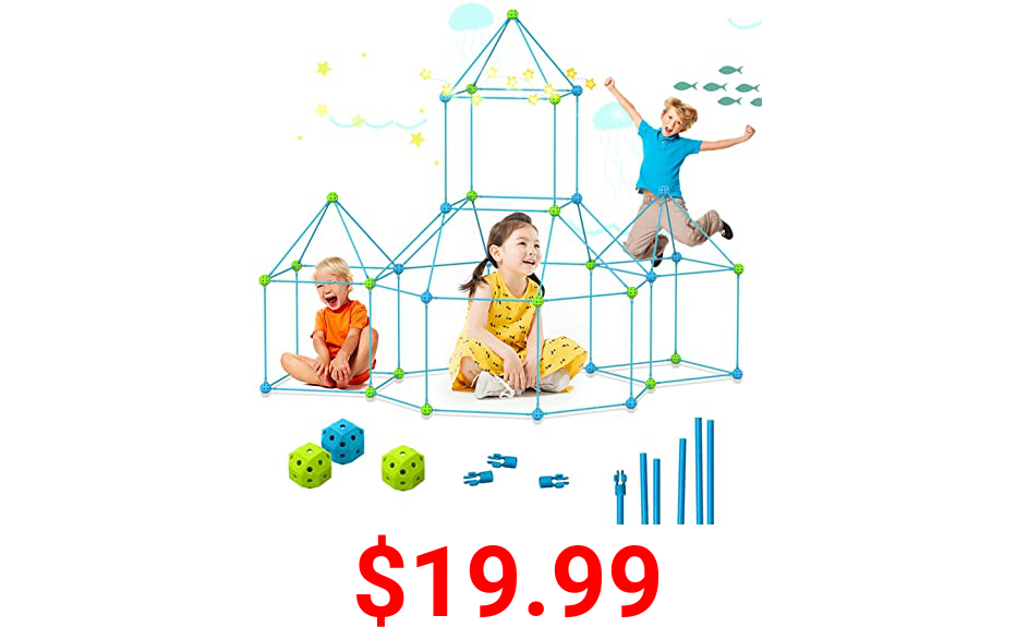 YSD Creative Fort Building Kit for Kids Toy, 85 Pcs of Construction STEM Toys DIY Building Indoor and Outdoor Playhouse Tent Room Toys, Castle Tunnel Toys for 3-12 Years Old Boys Girls