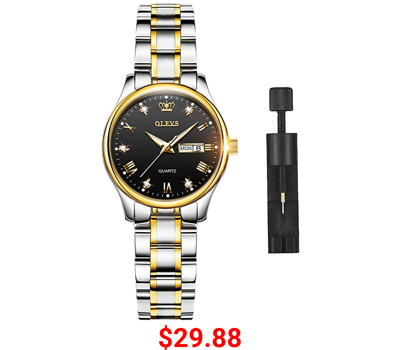 OLEVS Gold Watch for Women with Date Day Stainless Steel Waterproof Small Face Quartz Analog Ladies Watches Fashion Gold Black White Dial Female Wristwatch