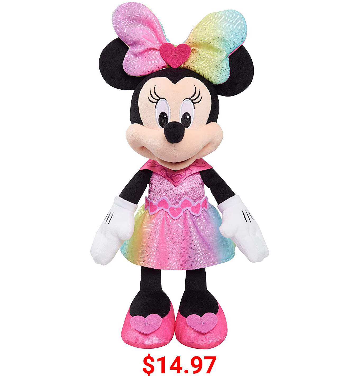 Disney Junior Minnie Mouse Sparkle and Sing Minnie Mouse, 13 Inch Feature Plush with Lights and Sounds, by Just Play