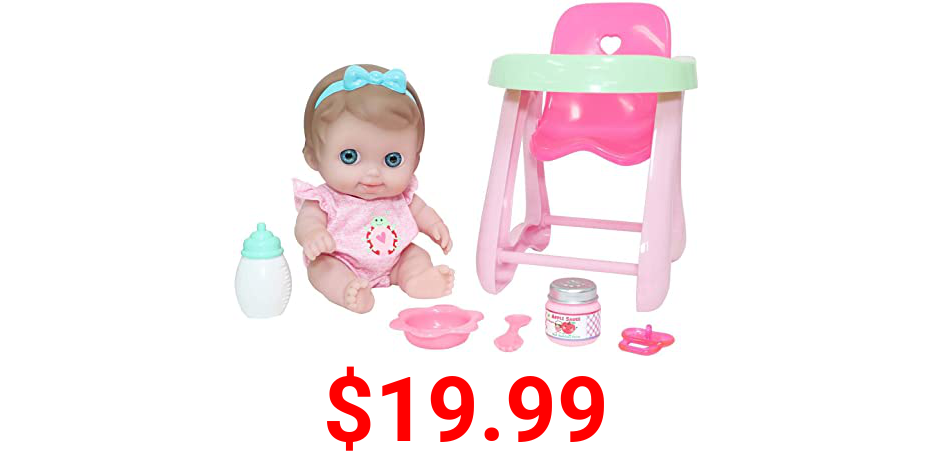 """JC Toys Lil Cutesies 9"""" All Vinyl Baby Doll Feeding Time Gift Set  Posable and Washable   Removable Outfit   High Chair and Feeding Accessories Ages 2+"""