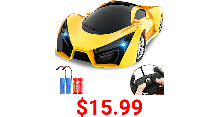 KULARIWORLD Remote Control Car, Rechargeable Drift RC Cars Toys for Kids,1/16 Scale 10KMH High Speed Super Vehicle with Led Headlight,Yellow Racing Hobby Best Xmas Birthday Gift for Boys Girls