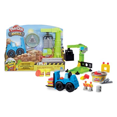 Play-Doh Wheels Crane and Forklift, Cement Buildin' + 2 Colors (6 oz)