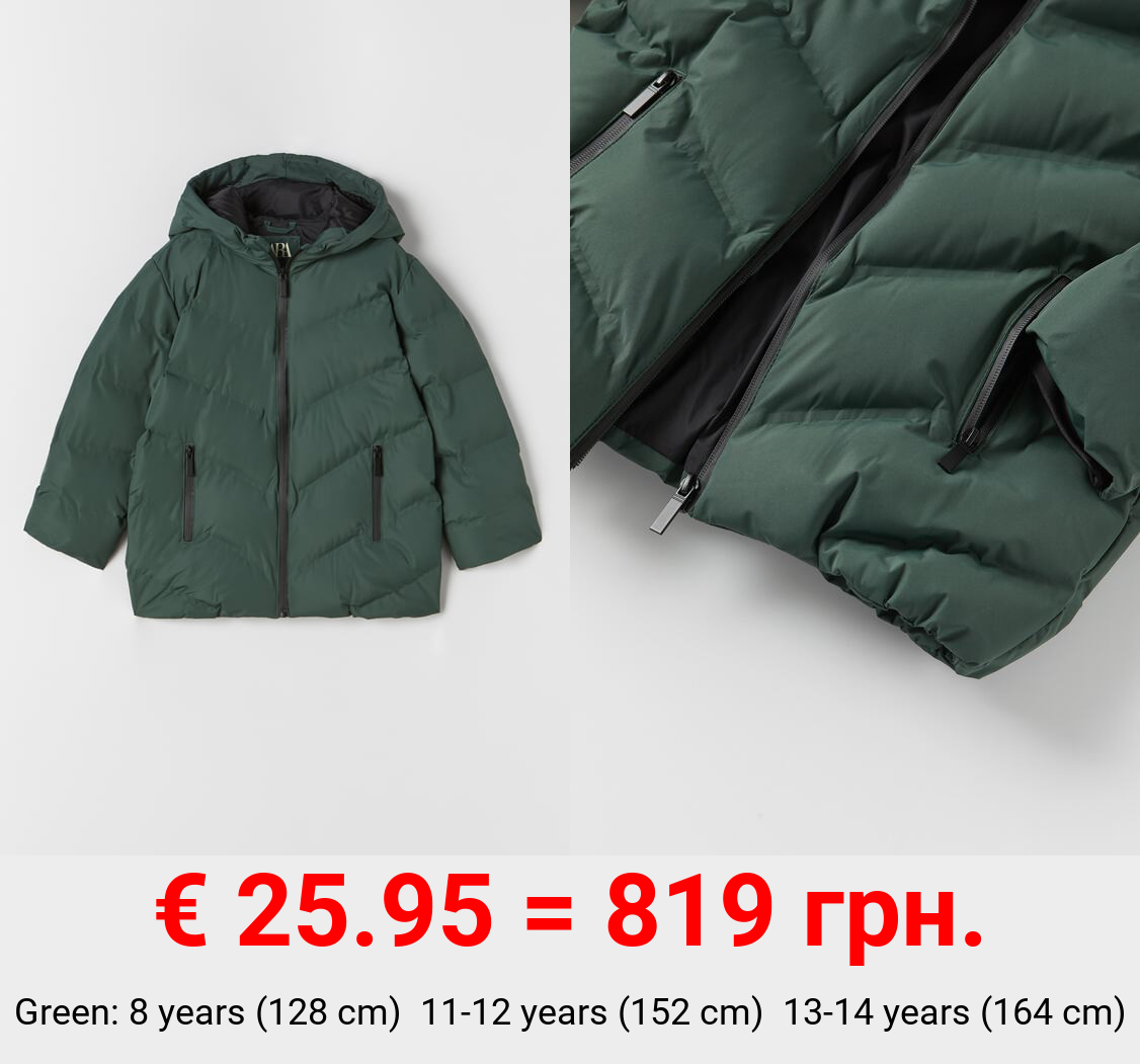 PUFFER COAT WITH THERMO-SEALED DETAIL
