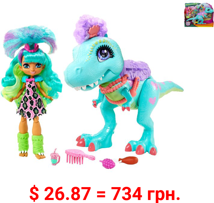 Cave Club Rockelle Doll and Tyrasaurus Dinosaur Playset, For 4 Year Olds and Up