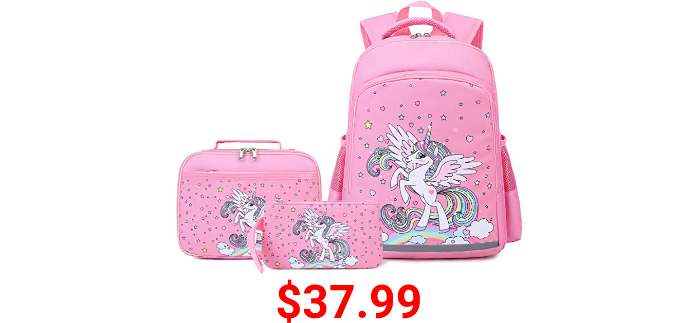 Girls Backpacks, Unicorn Backpack and Lunch Box for Girls, Kids Unicorn School Bookbag Set with Lunch Box and Pencil Case