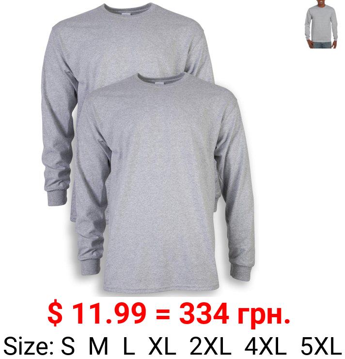 Gildan Men's Ultra Cotton Long Sleeve T-Shirt, 2-Pack, up to size 5xl
